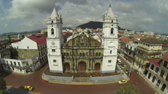 Panama Cathedral on Plaza de la Independencia of Panama City, Casco Viejo. Stock Footage