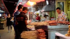 Food stalls  in night market Stock Footage