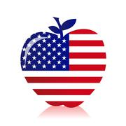 Stock Illustration of apple with an american flag illustration