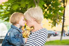 Young mother and her toddler girl Stock Photos