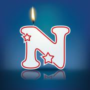 candle letter n with flame - stock illustration