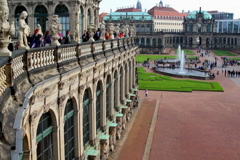 Royal Palace Dresden establishing shot pan, tourist people crowd, click for HD - stock footage