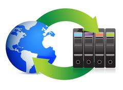network concept servers and globe - stock illustration