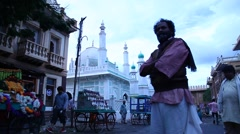 Muslim people in old city Stock Footage