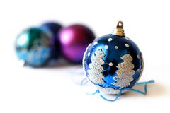 Christmas baubles on white background Stock Photos