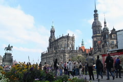 Stock Video Footage of Dresden tourist site seeing place square, European architecture, click for HD
