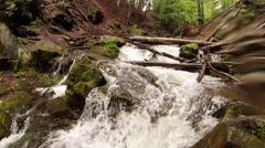 Stone waterfall in the forest panorama Stock Footage