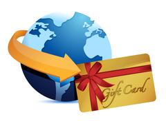 Stock Illustration of globe arrow and giftcard illustration design over a white background