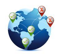 World map. globe. earth. planet. approve or reject. illustration design Stock Illustration