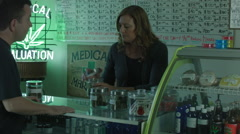 MEDICAL MARIJUANA DISPENSARY INTERIOR / MEDIUM SHOT VERSION 2 Stock Footage
