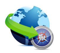globe and compass - stock illustration