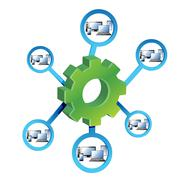 network diagram and gears illustration design over a white background. - stock illustration