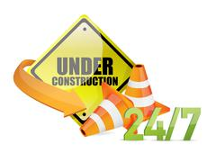 under construction service sign - stock illustration