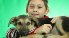 Nice kid and cute dog mongrel Stock Footage
