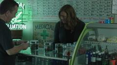 MEDICAL MARIJUANA DISPENSARY INTERIOR  / MEDIUM 1 - stock footage