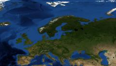 Northern Europe from space zoom Stock Footage