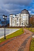 Beautiful embankment of the lake  Verhnee (oberteich). kaliningrad, Russia Stock Photos