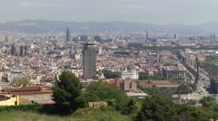 Barcelona from aerial vantage point - stock footage