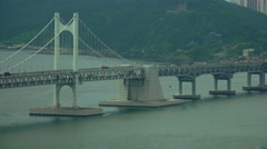 Gwangan Suspension Bridge Busan South Korea Close Up 4K Stock Footage