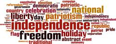 independence word cloud - stock illustration