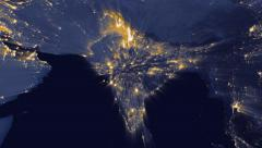 India Lights from space zoom Stock Footage