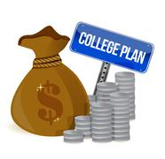 money bags college plan sign - stock illustration
