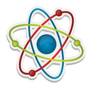 abstract science icon of atom - stock illustration
