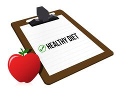 "Clipboard with marked checkbox ""diet"" and apple Stock Illustration"