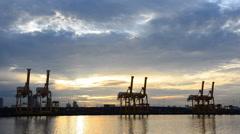 Crane bridge for container cargo. Stock Footage