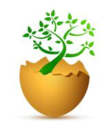 Stock Illustration of broken egg with the ecological tree
