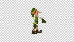 Christmas Elf Hip Hip Dance Animated 3D Model With Alpha - stock footage