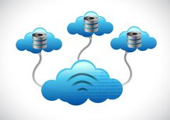 Stock Illustration of server clouds computing network concept