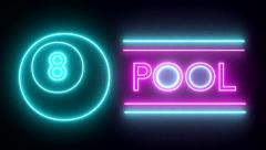 Pool billiards neon sign lights logo text glowing multicolor - stock footage