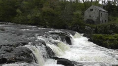 Cenarth falls and flour mill, Wales Stock Footage