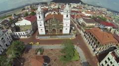 Aerial view of Panama City, Casco Viejo Stock Footage