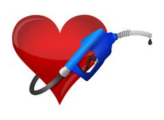 Heart with a gas pump nozzle Piirros