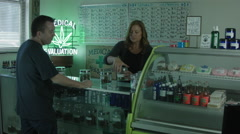 MEDICAL MARIJUANA DISPENSARY INTERIOR WITH PEOPLE ver.2 Stock Footage