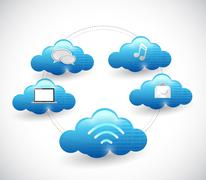 Stock Illustration of cloud network diagram illustration design over a white background