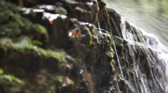 Waterfall in the mountains. Nature background with change focus and shift camera Stock Footage