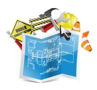blueprint under construction map - stock illustration