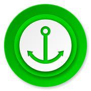 anchor icon, sail sign. - stock illustration