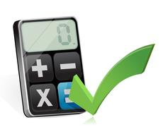 approve and modern calculator - stock illustration