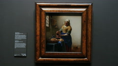 Milkmaid painting by Johannes Vermeer Stock Footage