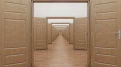 Enfilade, suite of open doors. Stock Footage