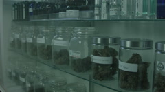 MEDICAL MARIJUANA DISPENSARY DISPLAY CASE Stock Footage