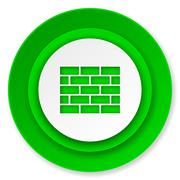 firewall icon, brick wall sign. - stock illustration