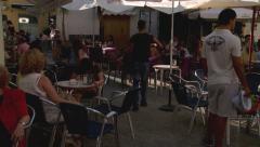people enjoy Spanish  cafes  Stock Footage