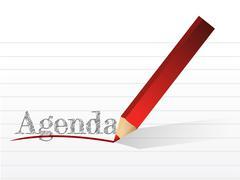 Stock Illustration of pencil writing the word agenda. illustration