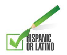 Selected hispanic or latino with check mark. illustration design over white Stock Illustration