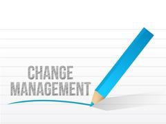 Stock Illustration of change management written over a notepad paper